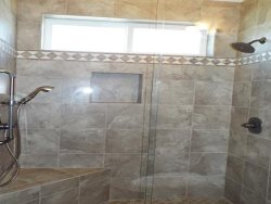 Back Bathroom Shower 2 shower heads